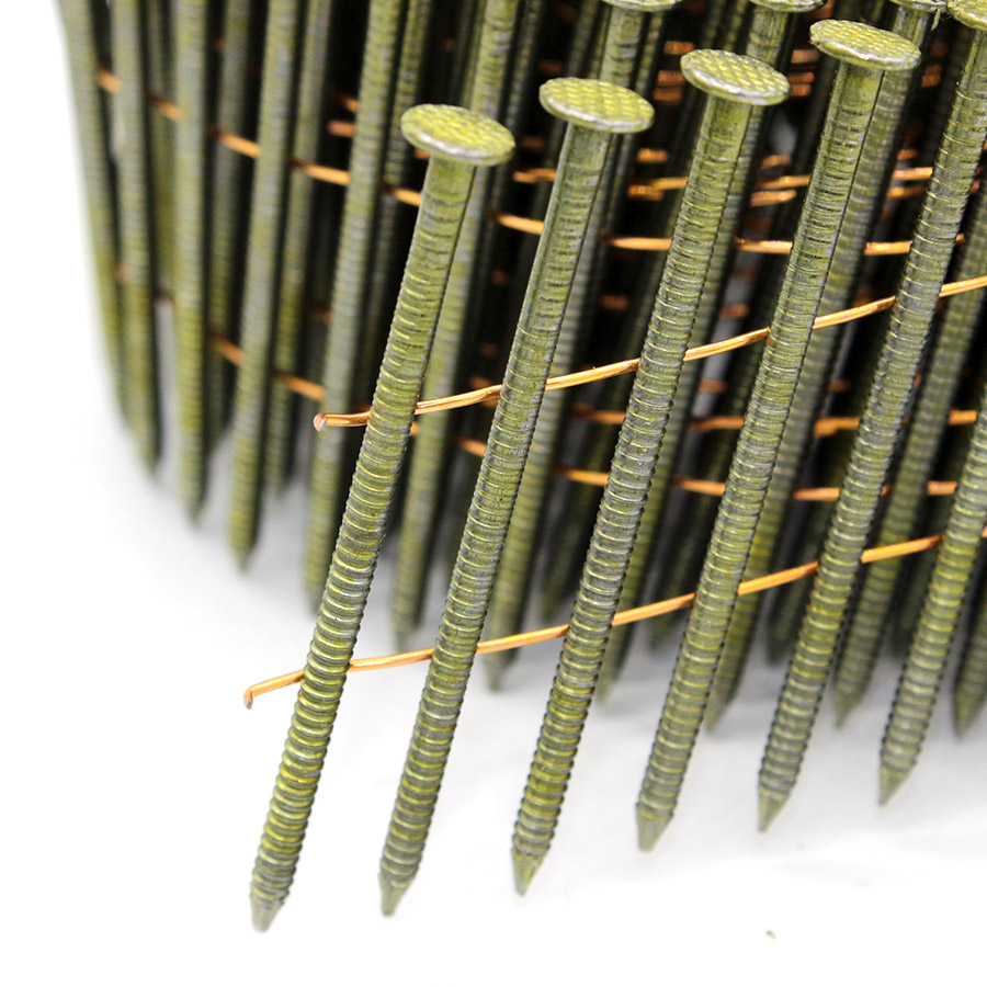 "15 Degree 0.099"" X 2"" Ring Shank Wire Collated Coil Nails"